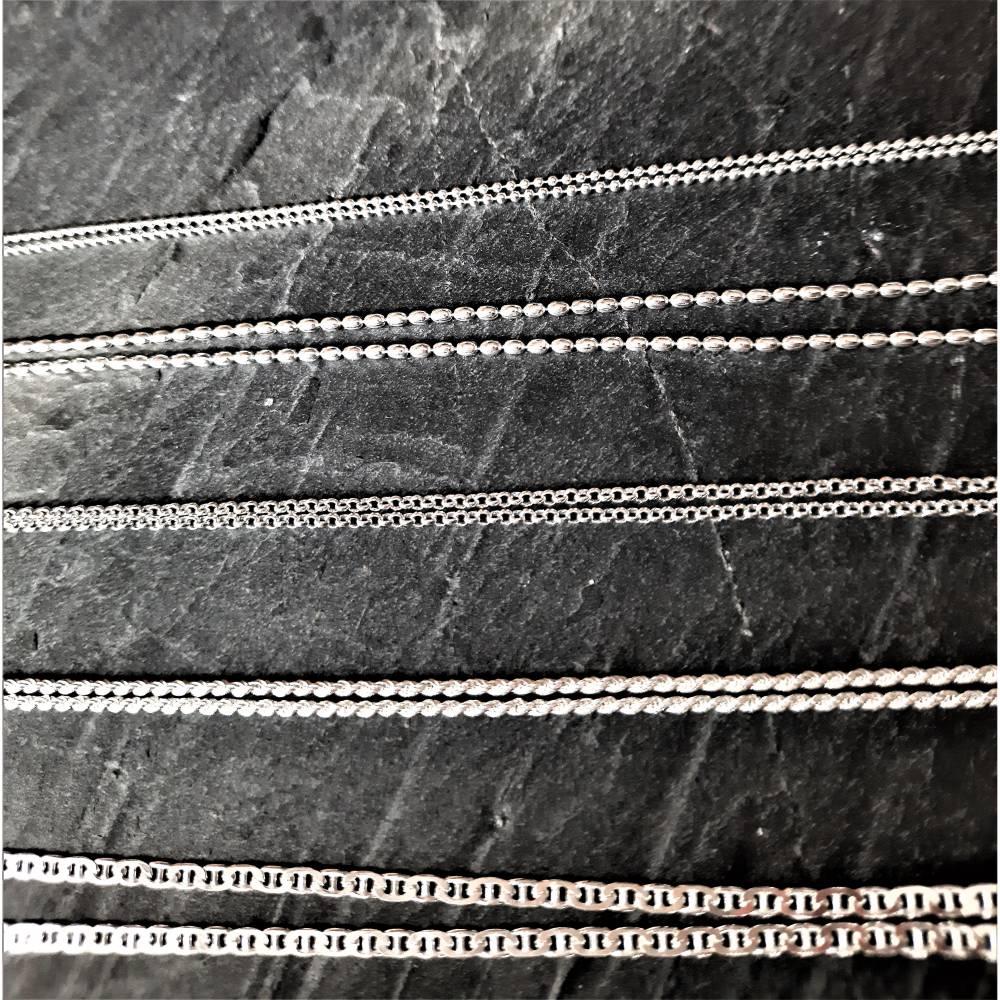 Sterling-Silberkette Collier in verschiedenen Längen und Mustern Bild 1