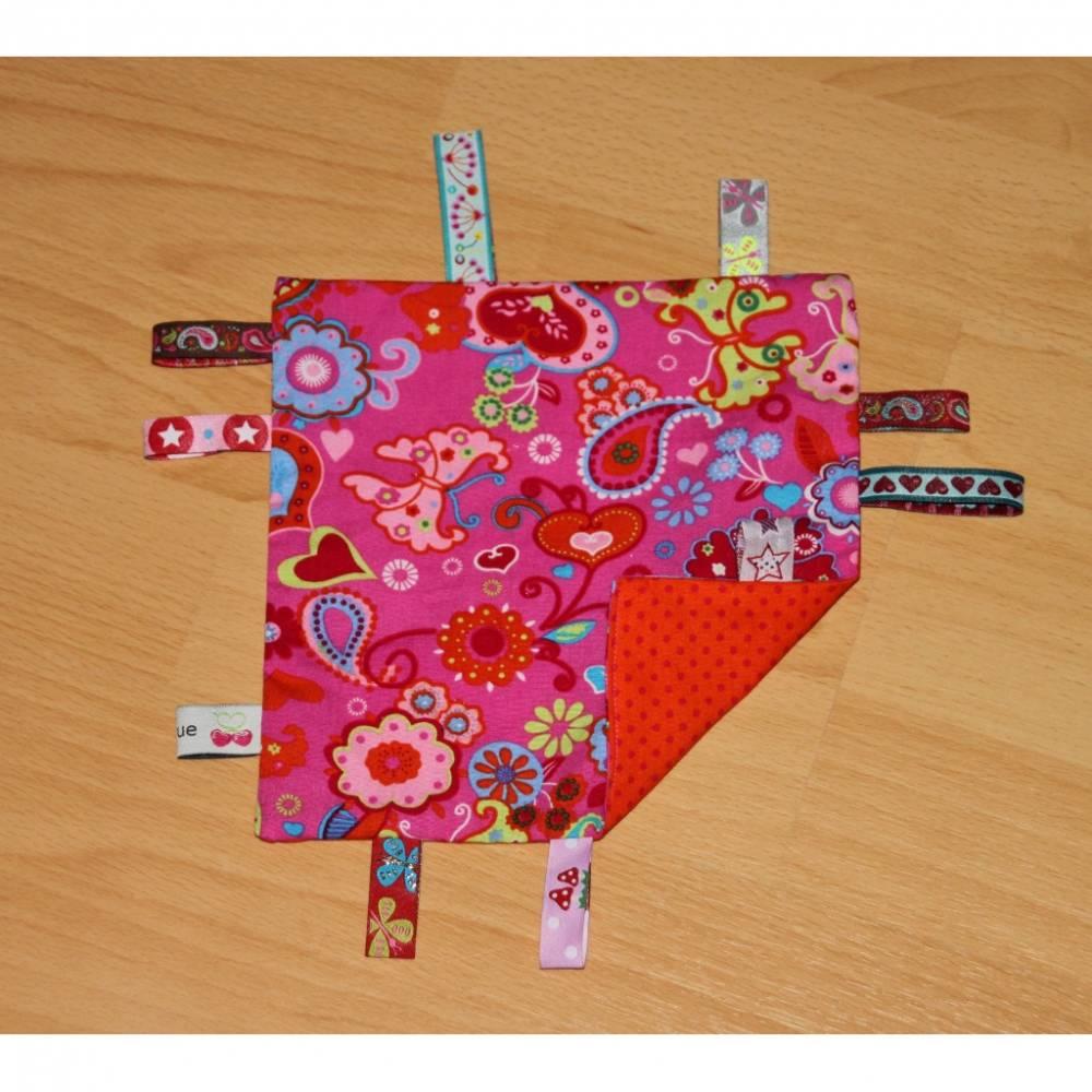 Knistertuch pink mit Herzen, Blumen und Mustern / orange mit pinken Pünktchen Bild 1