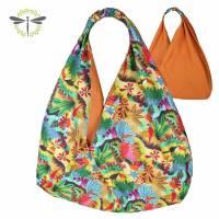 Origami-Tasche XXL Shopper Beutel japanische Einkaufstasche Bento-Bag Tucan Vogel orange Bild 1