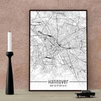 Stadtplan HANNOVER - Just a Map I Digitaldruck Stadtkarte citymap City Poster Kunstdruck Stadt Karte Bild 1