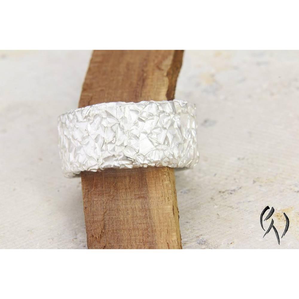Breiter Ring aus Silber 925/-. Knitterring, ca 10-11 mm Bild 1