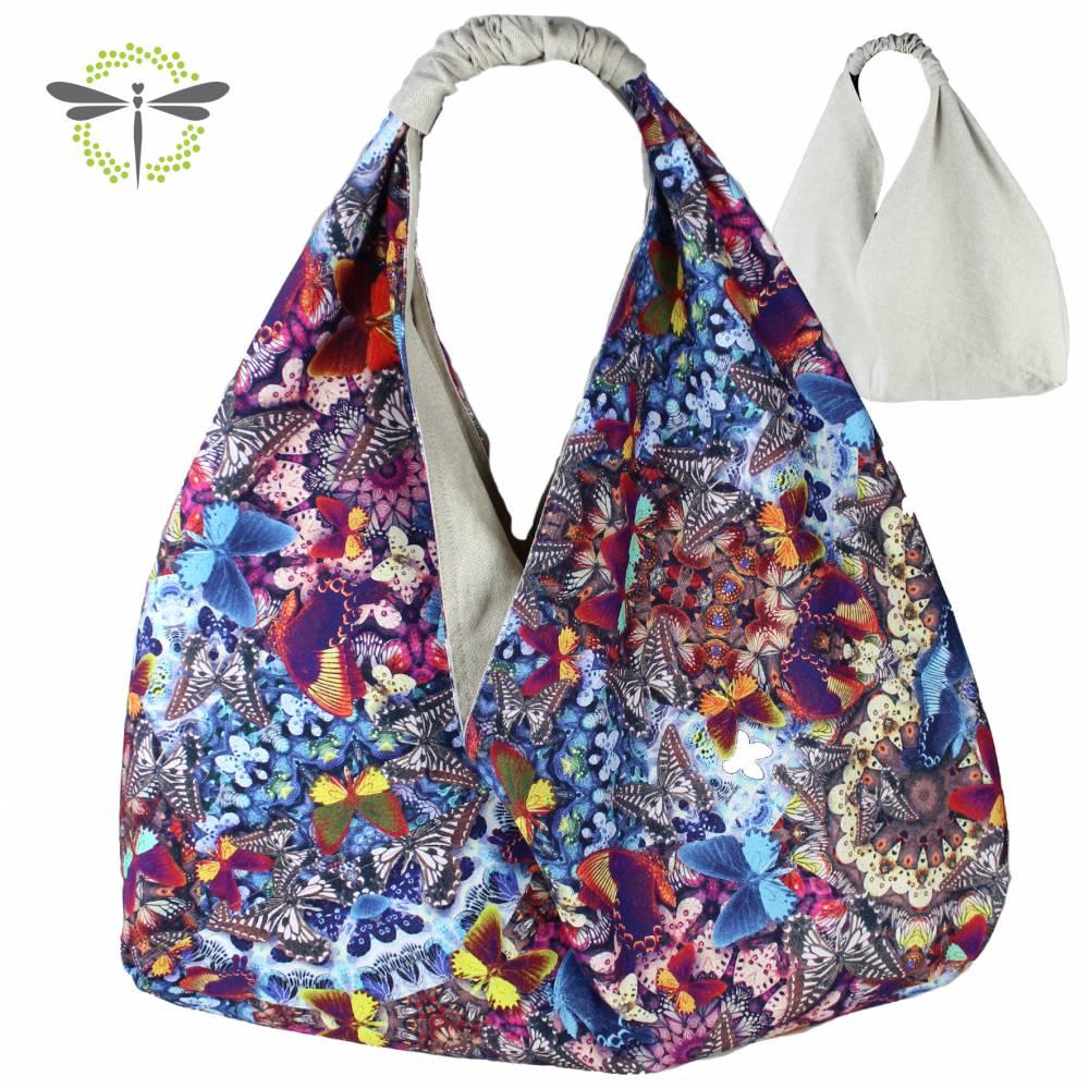 Origami-Tasche XXL Shopper Beutel japanische Einkaufstasche Bento-Bag bunte Schmetterlinge Bild 1