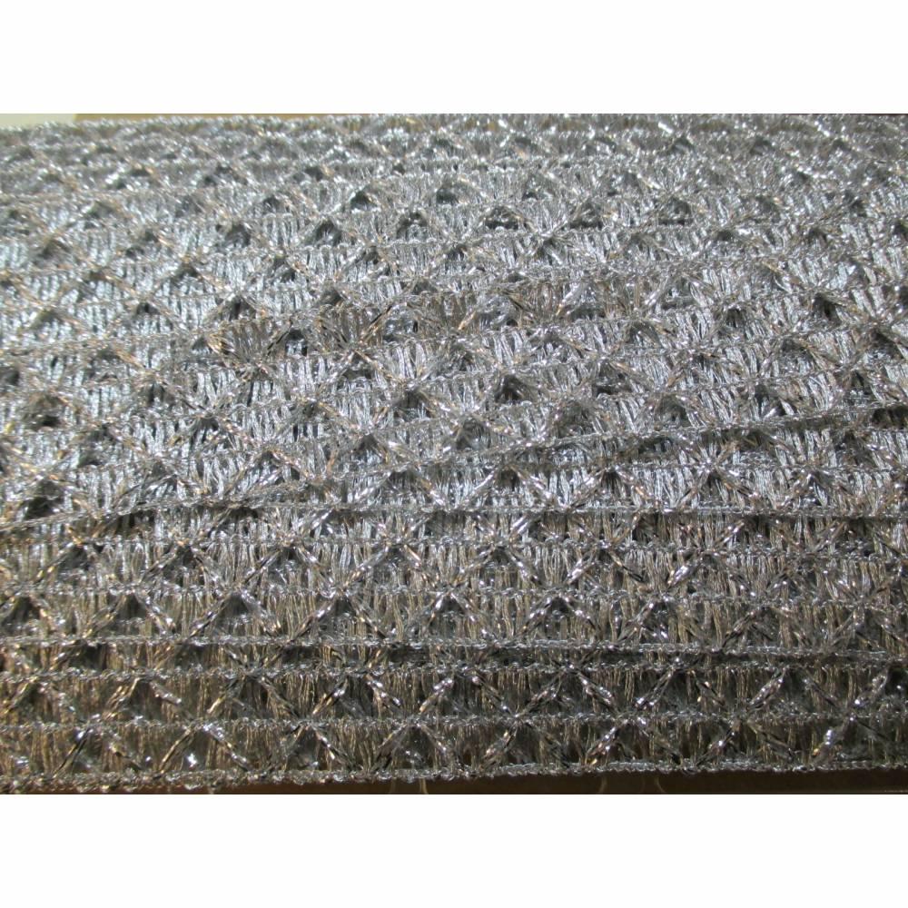 Brokatborte Posamentenborte Lurex-Borte 30 mm breit  silber  (1m/2,00  €) Bild 1