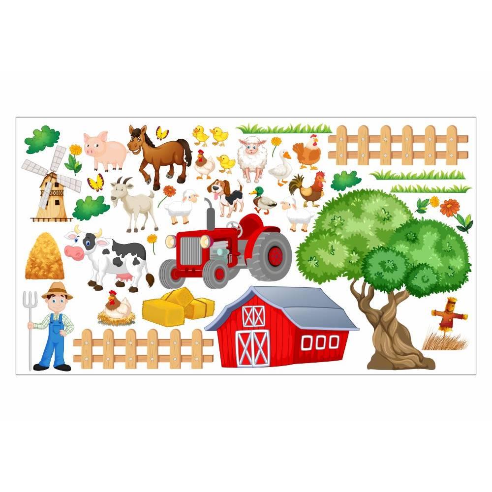 nikima - 020 Wandtattoo Kinderzimmer Bauernhof niedliche Tiere Traktor Farm Kuh - in 6 Größen - niedliche Kinderzimmer Sticker  Bild 1