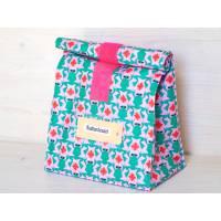 Lunchbag groß, Badetasche, grüne Frösche auf rosa, beschichtete Baumwolle, wasserabweisend Bild 1