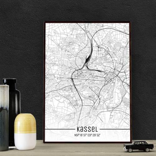 Stadtplan KASSEL - Just a Map I Digitaldruck Stadtkarte citymap City Poster Kunstdruck Stadt Karte
