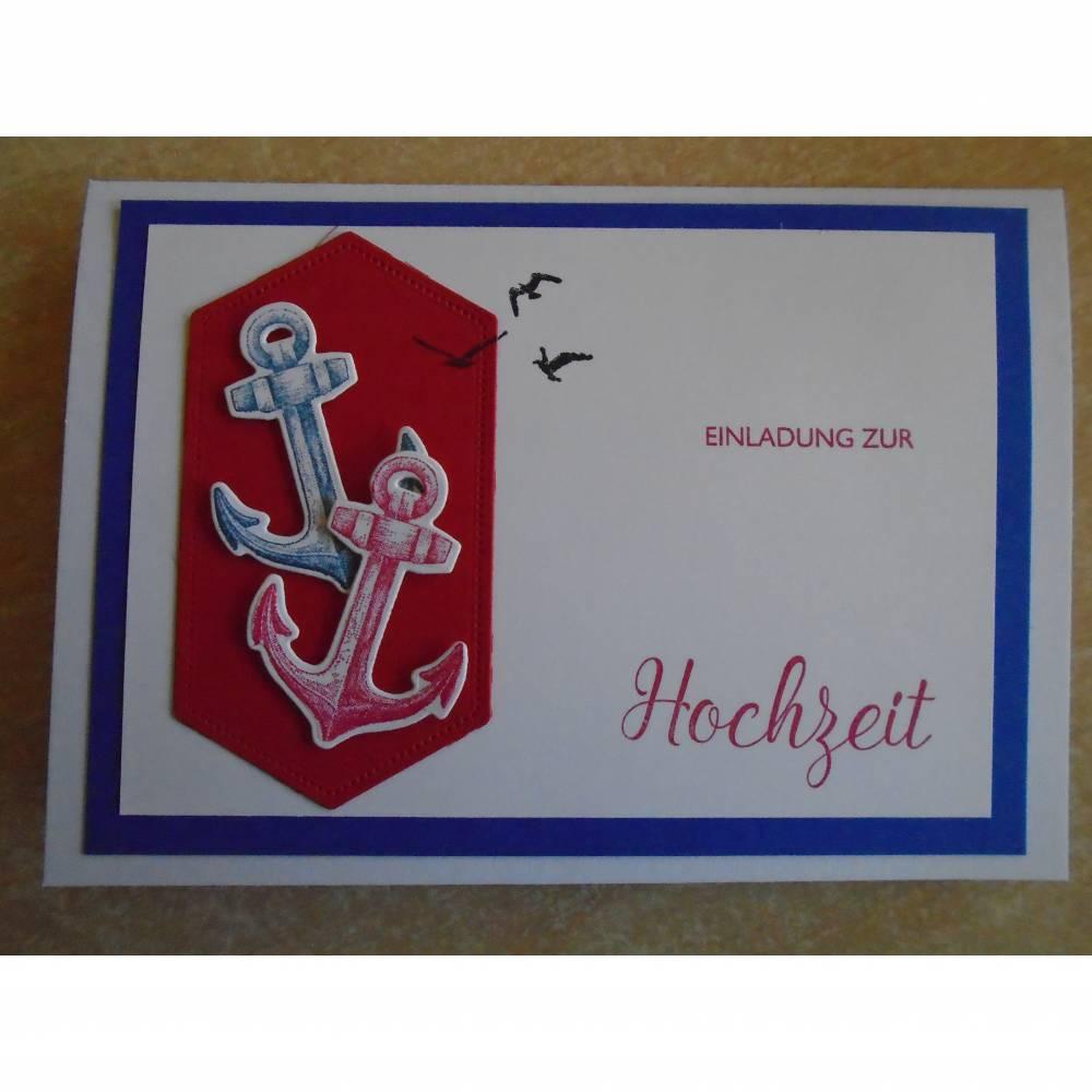 Einladungskarten zur Hochzeit, Einladungskarte,Maritim, Maritimhochzeit, Anker, Einladung, Enladungen, Bild 1