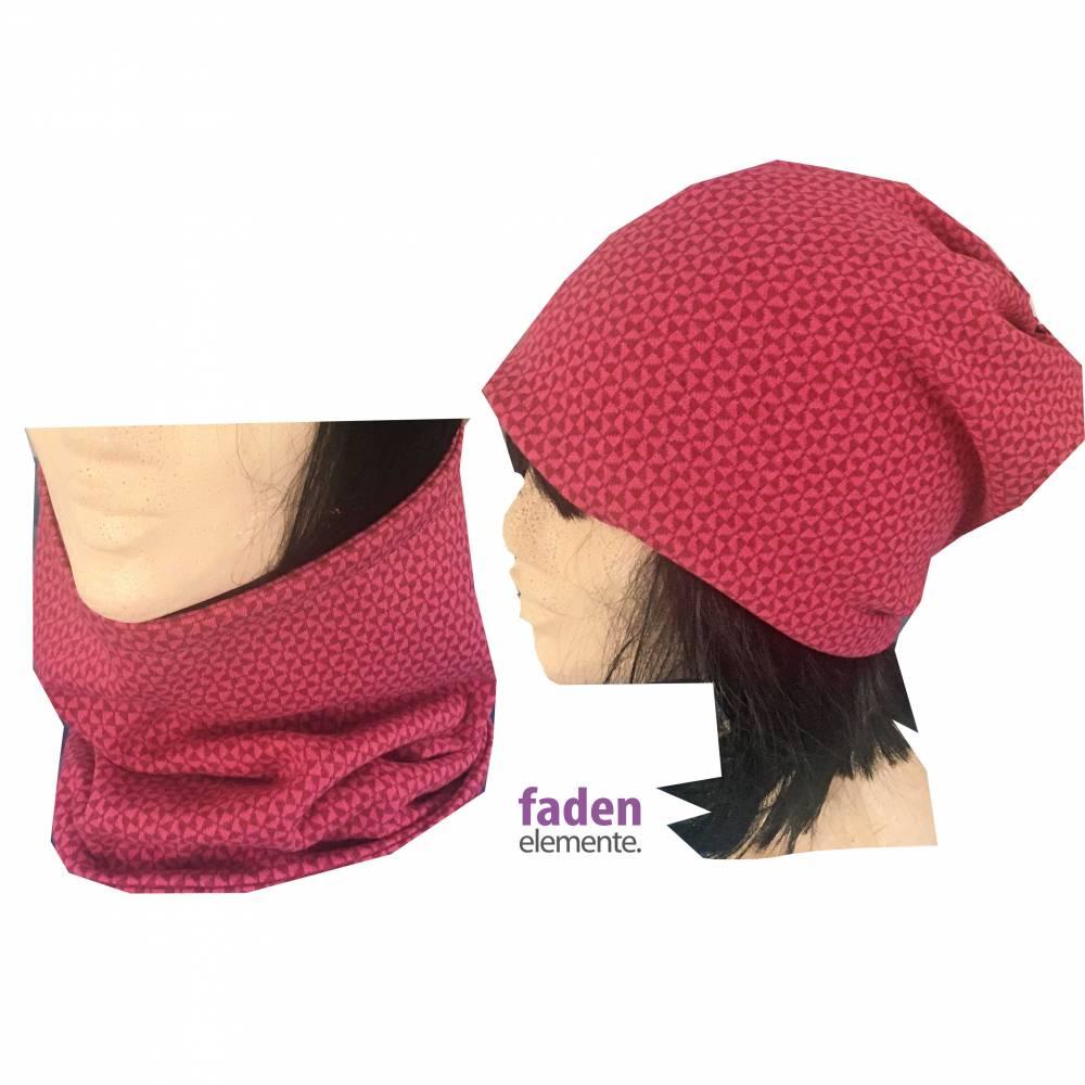 Maske, Mund- und Nasenmaske, 2in1 Schal, Kragen und Mütze pink,  Bild 1