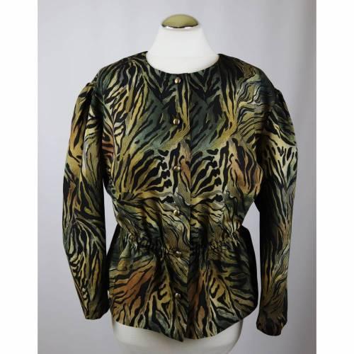 True Vintage 80er Schößchenbluse Bluse Größe L 42 Wild Dschungel Animal Leo Print Grün Schwarz Braun Khaki Cropped Oversize