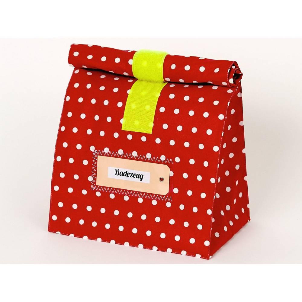 Lunchbag groß, Kulturtasche, Badetasche, beschichtete Baumwolle, wasserabweisend mit Innenfutter, rot/ gelb Bild 1