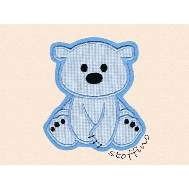 Applikation Eisbär Bär hellblau Karo Bild 1
