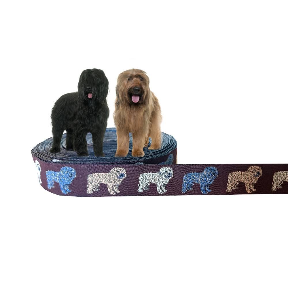 Briard / Gos d'Atura Català Webband Hund, Borte, braun, 25mm, 1 Meter Bild 1