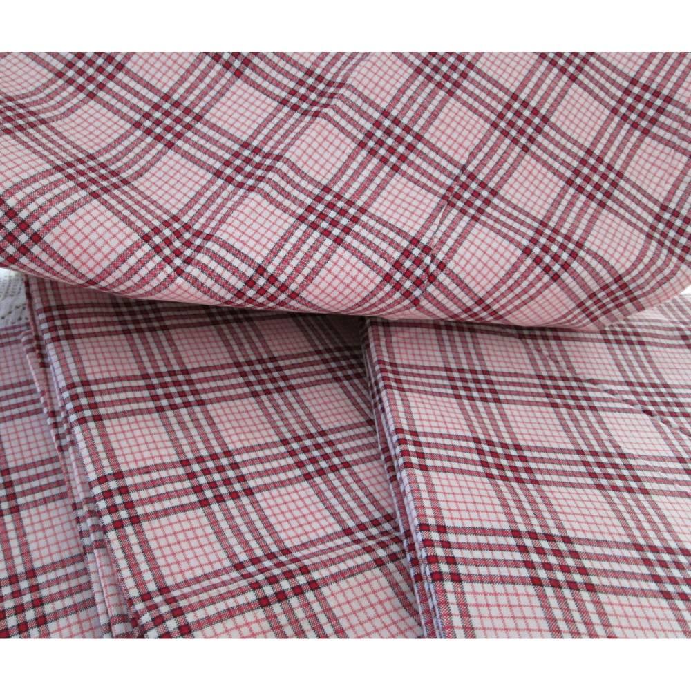 Bauernbettwäsche Leinen Kissenbezug rosa, rot, weiß kariert - unbenutzt, wie neu - 4 x vorhanden Bild 1