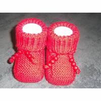 Baby-Strickschuhe rot 8,5 cm Bild 1