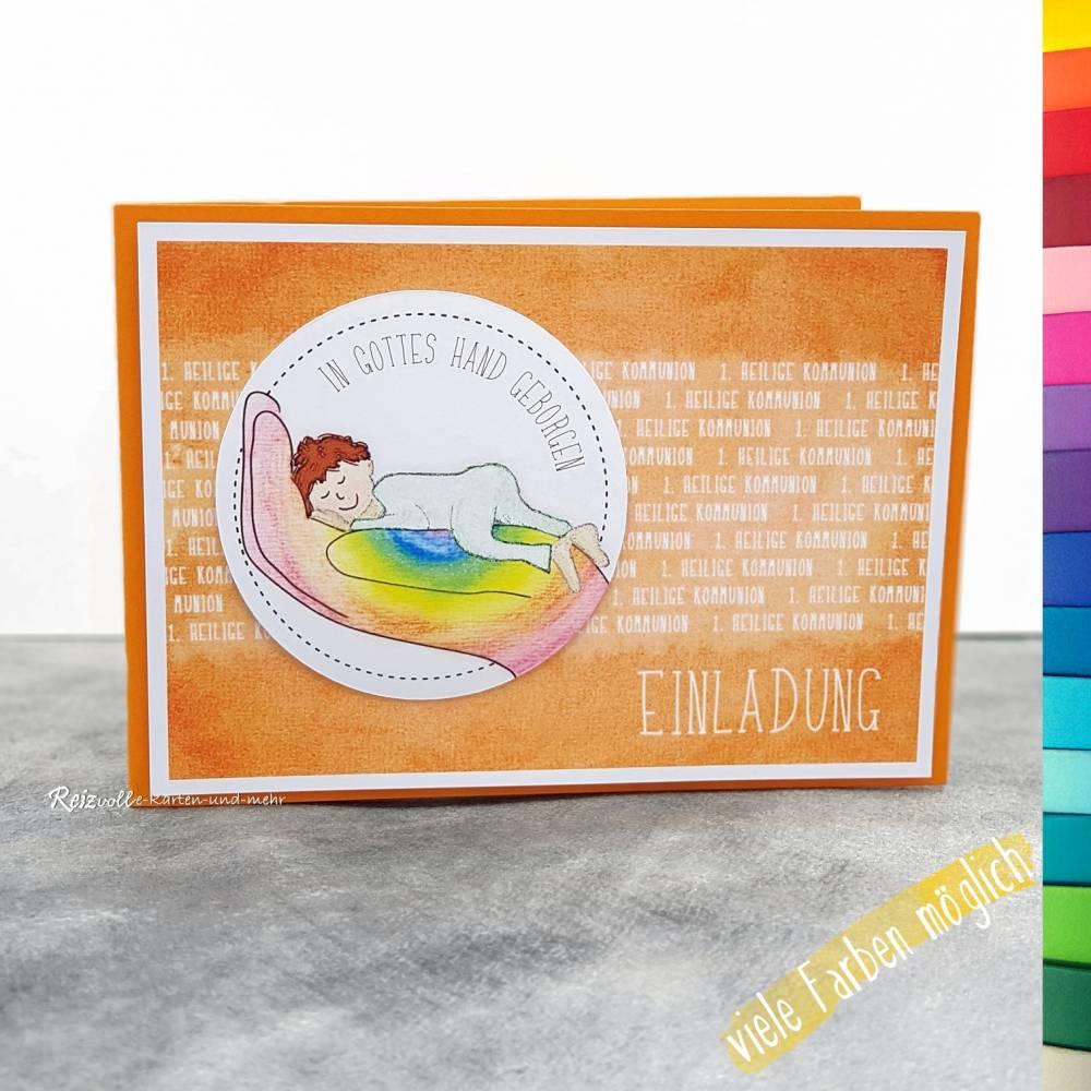 Einladungskarte Kommunion - In Gottes Hand geborgen Bild 1