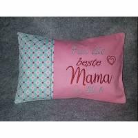 Kleines besticktes Kissen Beste Mama der Welt, Kuschelkissen  20x30 cm Bild 1