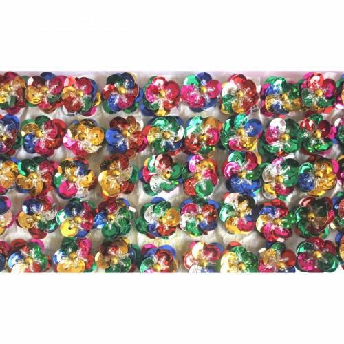 10 Paillettenblüten 3D Rosette Blumen Pailletten Blüten bunt Regenbogen Blumen Applikationen Aufnäher