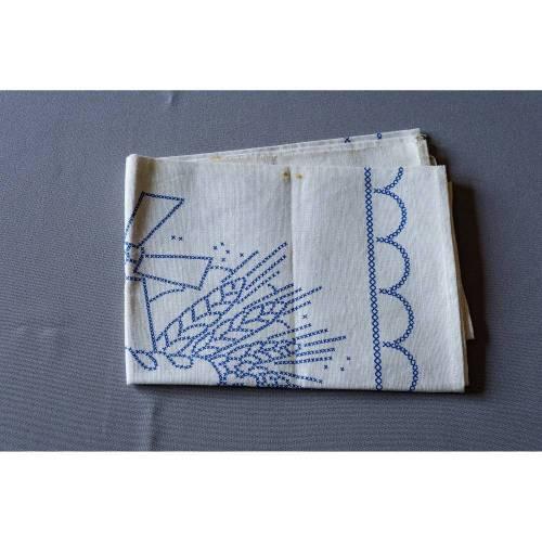 Stickmustertuch, unbenutzt,  mit einem Motiv aus dem Bäckerhandwerk, aus Baumwolle, Vintage, 1950er Jahre