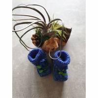 Babystrickschuhe royalblau/grün 8,5 cm Bild 1