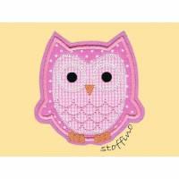 Applikation Eule Uhu in rosa Bild 1
