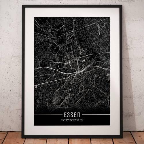 Stadtplan ESSEN - Just a Black Map I Digitaldruck Stadtkarte citymap City Poster Kunstdruck Stadt Karte