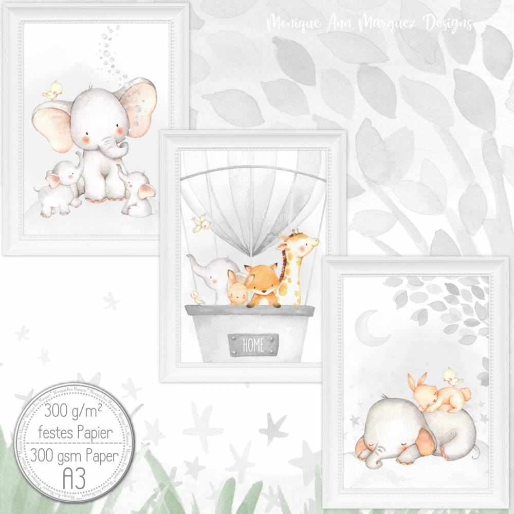 A3   Kinderzimmer Poster Babyzimmer Bilder Set Kinderzimmer Bild Kunstdruck Tiere Babytiere Elefant    SET 41/A3 Bild 1