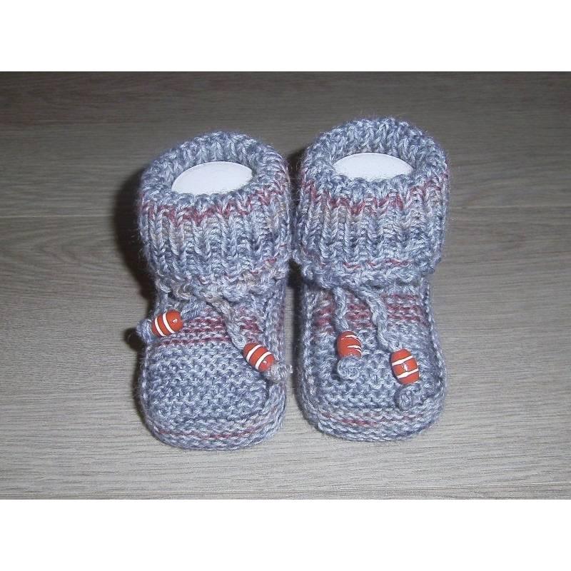 Baby-Strickschuhe grau-bunt 9 cm Bild 1