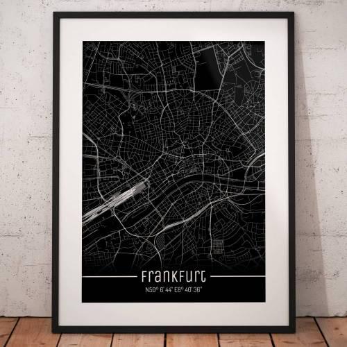 Stadtplan FRANKFURT - Just a Black Map I Digitaldruck Stadtkarte citymap City Poster Kunstdruck Stadt Karte