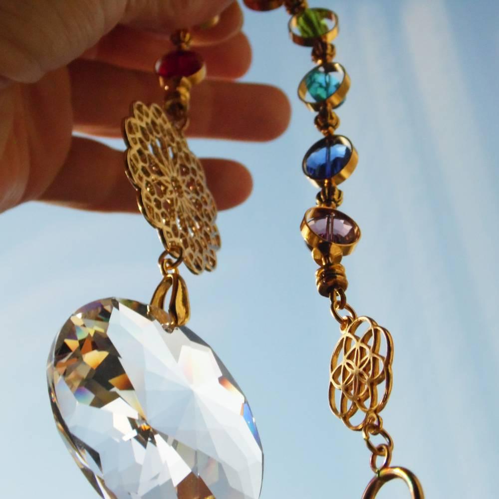 Sonnenfänger goldener Regenbogen Kristall Chakra Bild 1