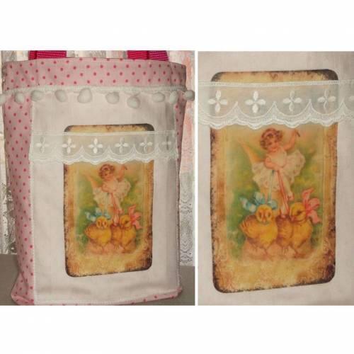 Ostertasche für Mädchen Stofftasche rosa gepunktet mit süßem österlichen Bügelbild Bommelborte und Küken