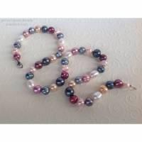 Perlenkette bunt, durchgeknüpft, Verschluss: Sterling Silber, Home Office, Geschenk für Frauen Bild 1
