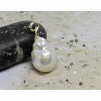 Perlenanhänger große elegante Edison-Perle, weiß ivory, 15 x 22 mm , Brautschmuck Geschenk Frau Bild 1