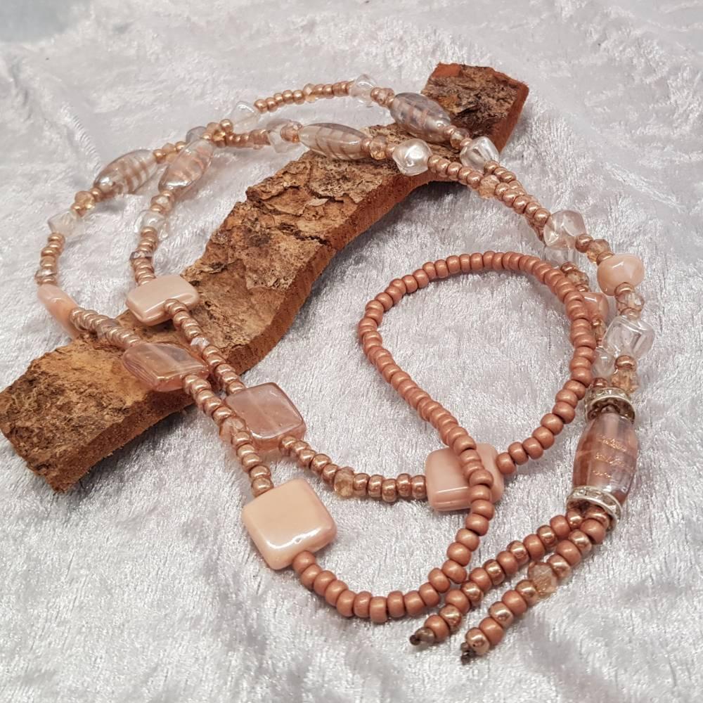 XL-Halskette, Glasperlen-Mix, Braun/Beige Bild 1