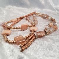 XL-Halskette, Glasperlen-Mix, Braun/Beige Bild 3