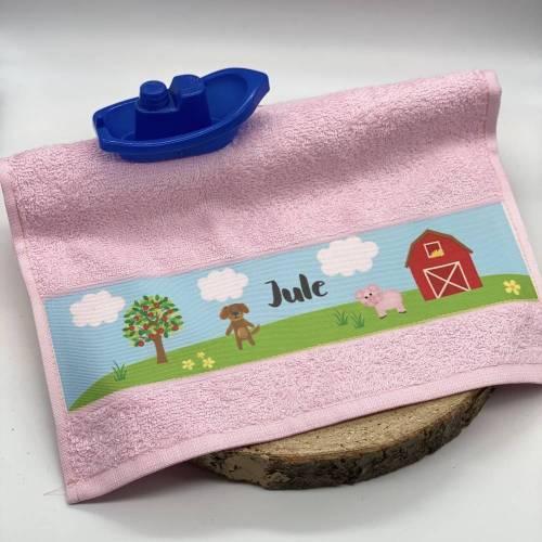 Handtuch Bauernhof I, Kinderhandtuch, Gästehandtuch, mit Namen personalisiert