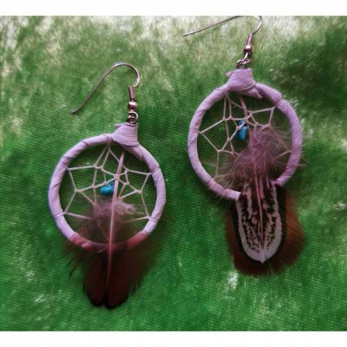 Traumfänger / Dreamcatcher-Ohrringe, mit Entenfedern und kleinem Türkis