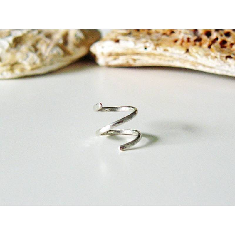 Gehämmerter Spiral Ohrring Silber, Spirale Helix Ohrring, 2 in 1, Knorpel Ohrring, Piercing Ring gehämmert, Helix Ringe, Geschenk Bild 1