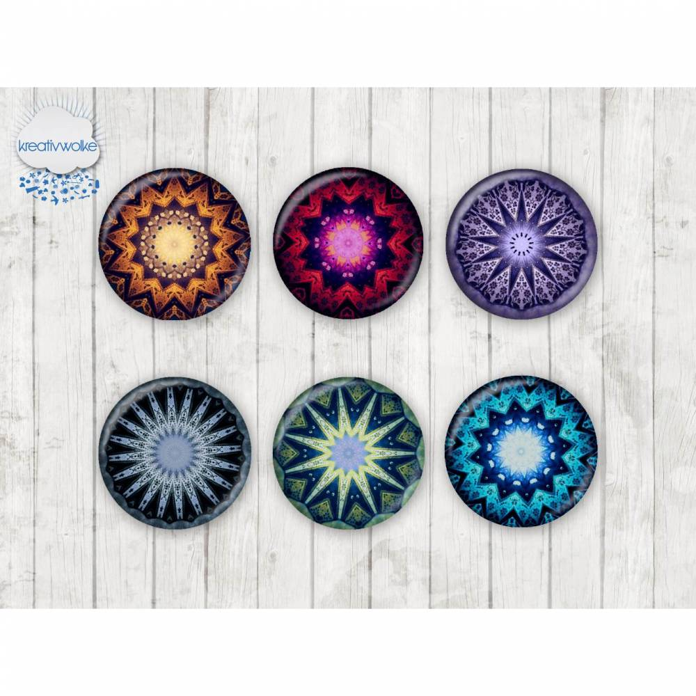 078 - Motivcabochon Set, Glascabochons Handmade Fotocabochon Mandala Mosaik Stern  Bild 1