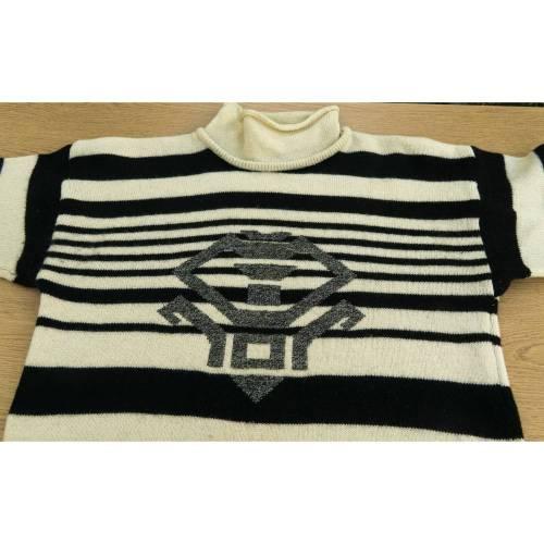 Pullover, 1980ern, reine Schurwolle, beige mit schwarzem Muster, Vintage, Retro, Design aus 80er