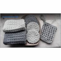 Beauty-Set: Kosmetikpads, Waschlappen, Seifensäckchen grau, weiß Bild 1