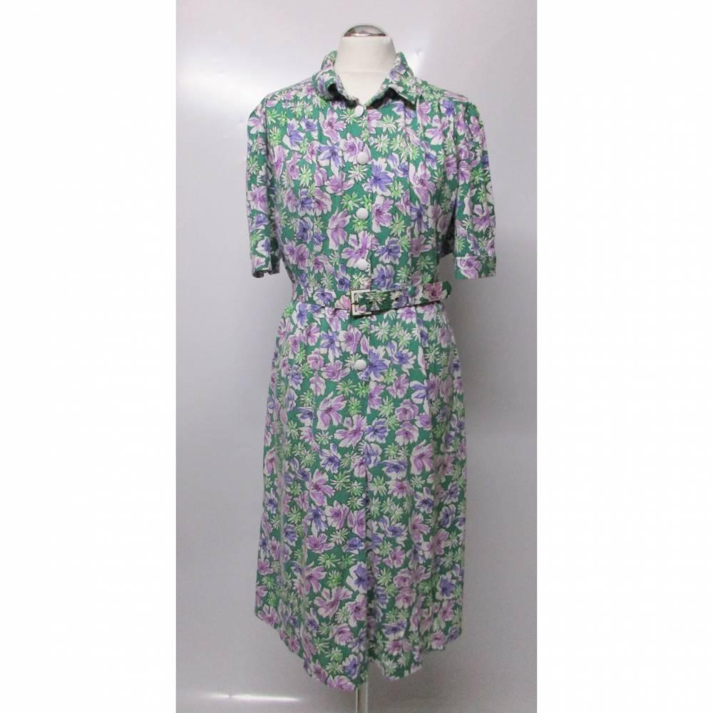 True Vintage Kleid Midikleid Gürtel Schmeinck Größe L 42 44 Kurzarm Jersey Millefleur Grün Lila Weiß Rosa Retro 50er 40er Bild 1