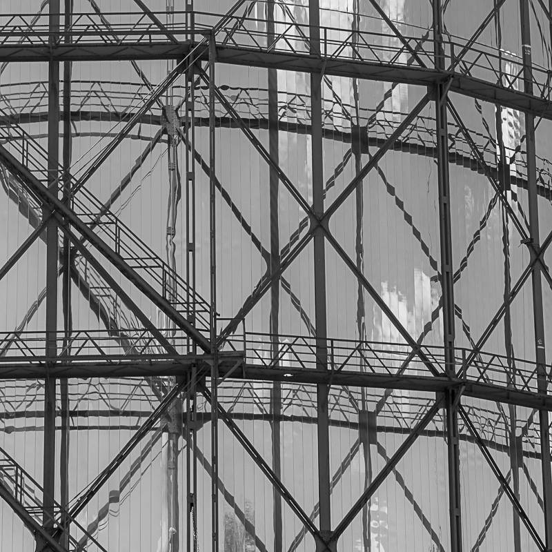 Gasometer Fotografie Kunstdruck Aluminiumdibond Butlerfinish Bild 1
