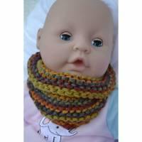 Halstuch Dreieckstuch Baby Spucktuch Lätzchen Schal Tuch orange rot lila violett blau grün grau bunt Wolle meliert gestrickt handgestrickt  Bild 1