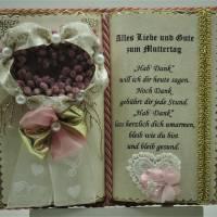 Wunderschönes, handgefertigtes Muttertags-Dekobuch mit Holzbuchständer Bild 1
