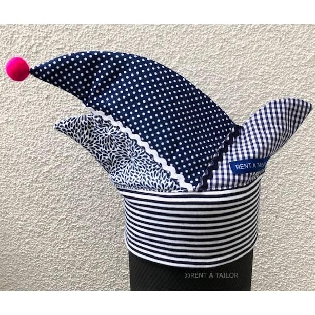 Kinder Narrenkappe– Karnevalskappe blau-weiss mit Filzkugelbommel | RENT A TAILOR Bild 1
