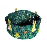 Osterkörbchen Osternest Utensilo in grün und blau gehäkelte Handarbeit Bild 1