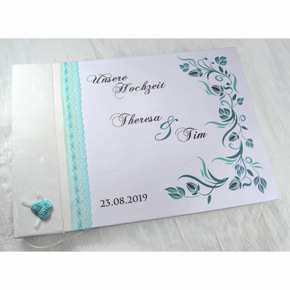 personalisiertes Fotoalbum zur Hochzeit in Weiß & Türkis im Rosen-Design Hochzeitsalbum Erinnerungsbuch Album Hochzeit Geschenk Geschenkidee mit Name Spitze Bild 1