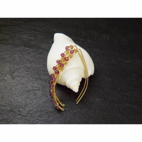 Rhodolith Granat Ohrringe Gold filled, offene Creolen, Edelstein Ohrringe, Geschenk für Sie, goldene Ohrringe, Boho Ohrringe, Hängeohrringe