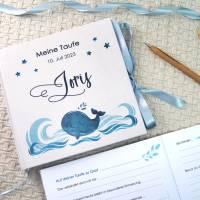Gästebuch zur Taufe personalisiert mit Name für Jungen mit Walfisch in Blau, auch als Taufgeschenk Bild 1