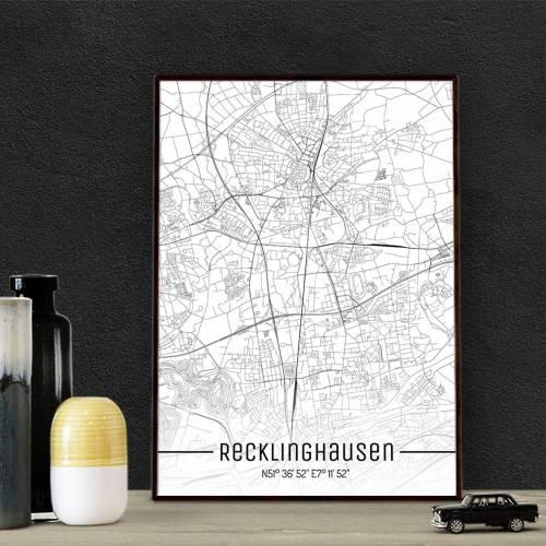 Stadtplan RECKLINGHAUSEN - Just a Map I Digitaldruck Stadtkarte citymap City Poster Kunstdruck Stadt Karte